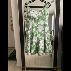 Green and white dress with boning
